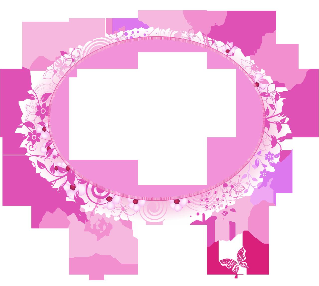 Download PNG image - Pink Flower Frame Transparent Image 280