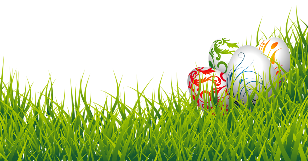 Floral Design Easter Eggs In Grass PNG Image