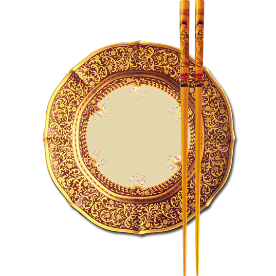 Cuisine Chinese Gold Chinoiserie Metal Chopsticks PNG Image