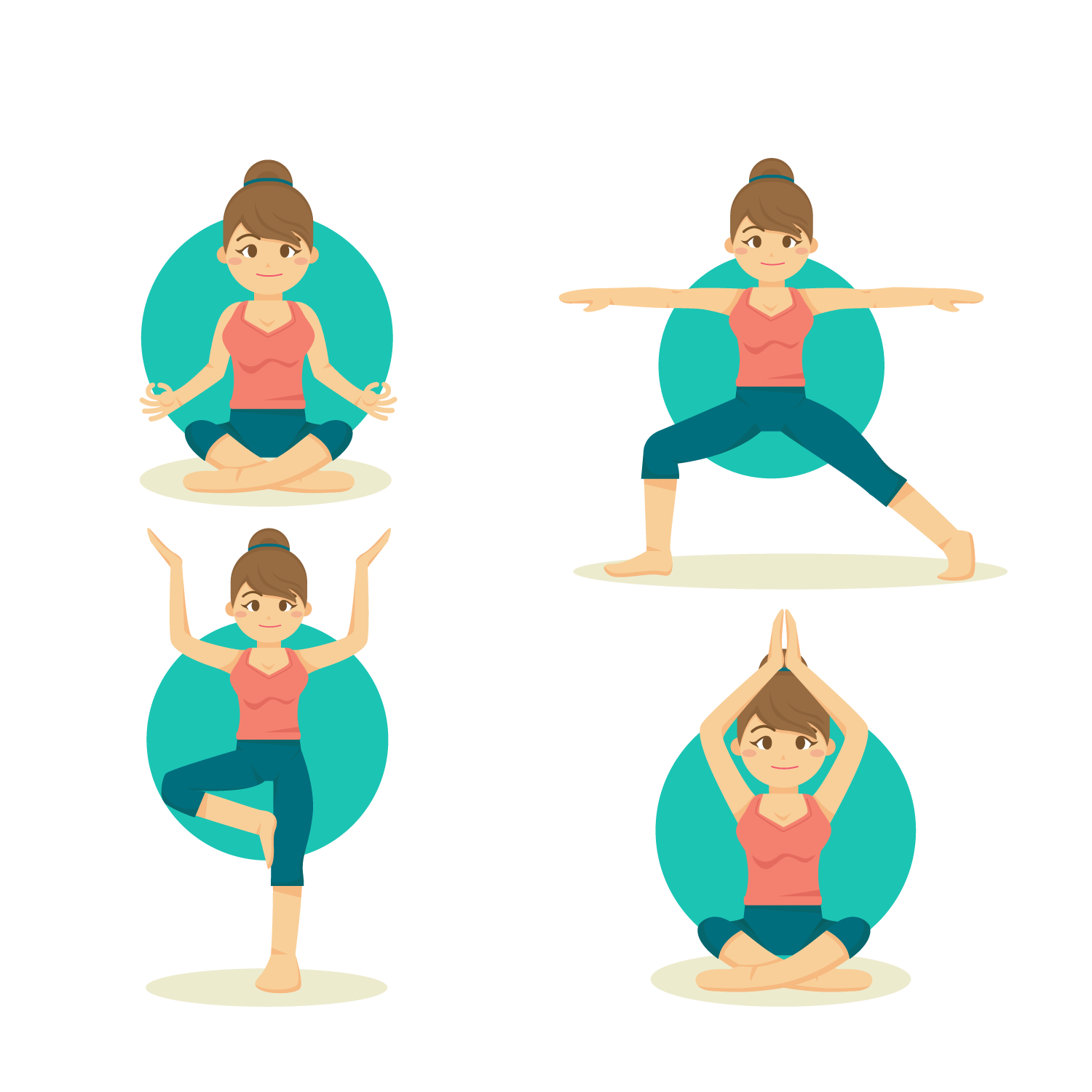 Vector Flat Woman Yoga Vinyasa Material Illustration PNG Image