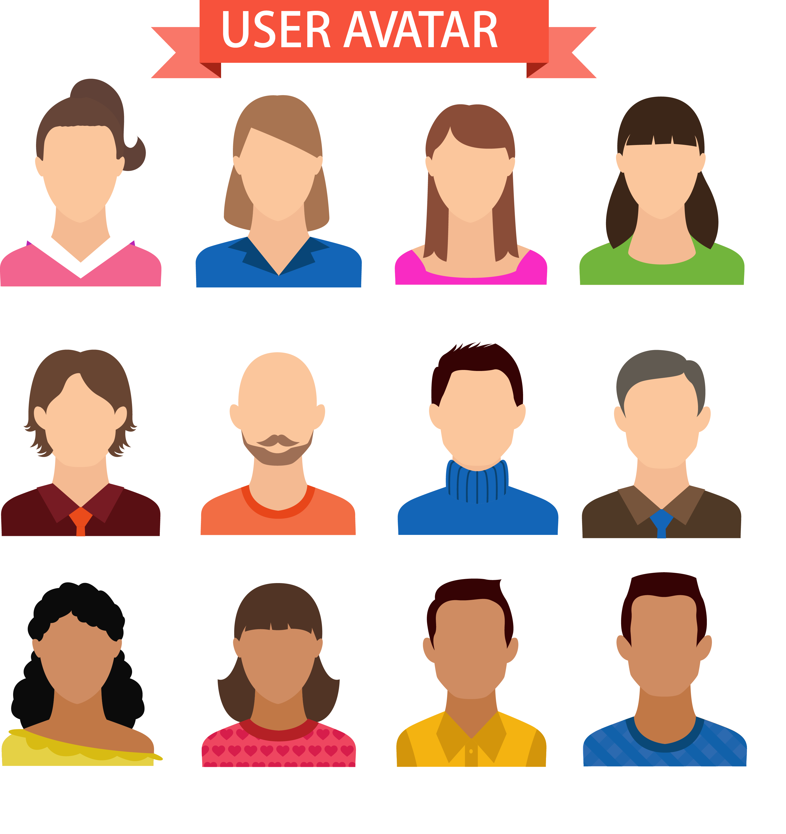 12 Expressionless User Vector Avatar Icon PNG Image