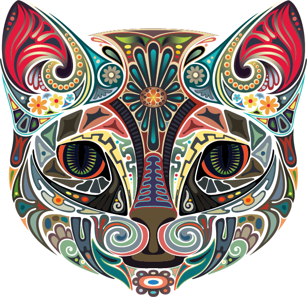 Vector Color Cat T-Shirt Iron-On Animal PNG Image