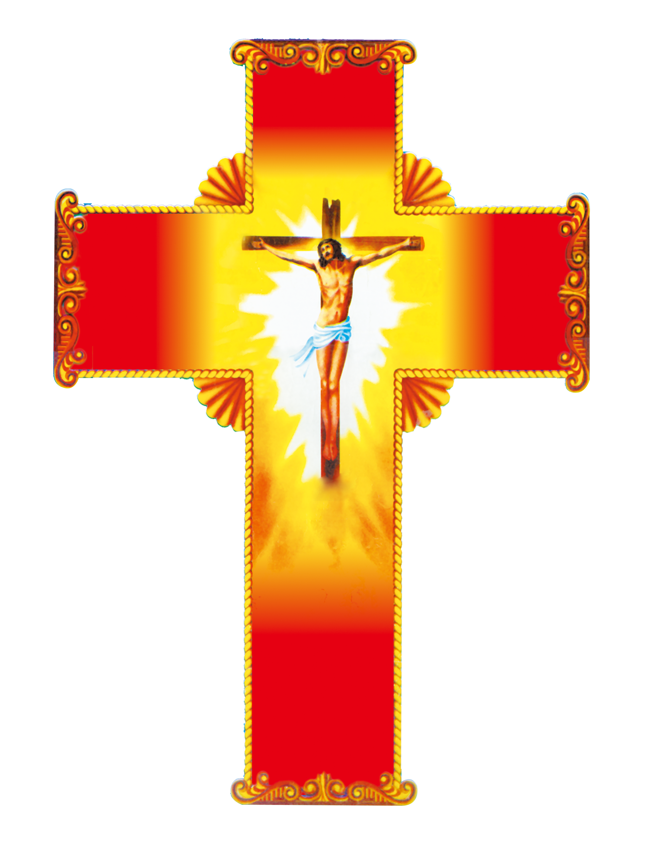 Christian Material Cross Jesus Crucifix Red PNG Image
