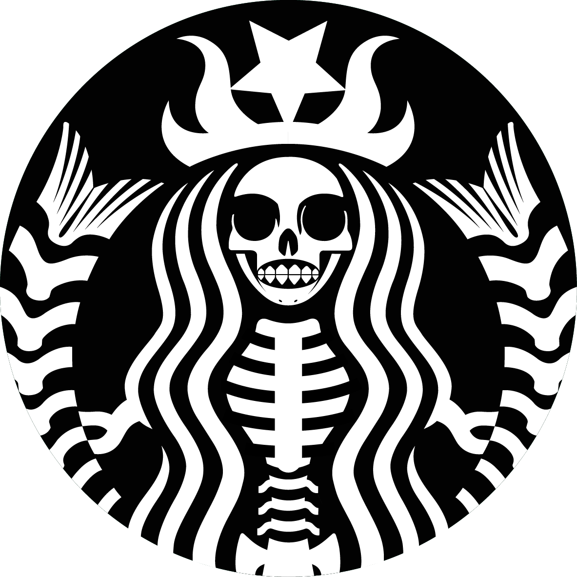Coffee Skull Espresso Black Starbucks Beans Cafe PNG Image