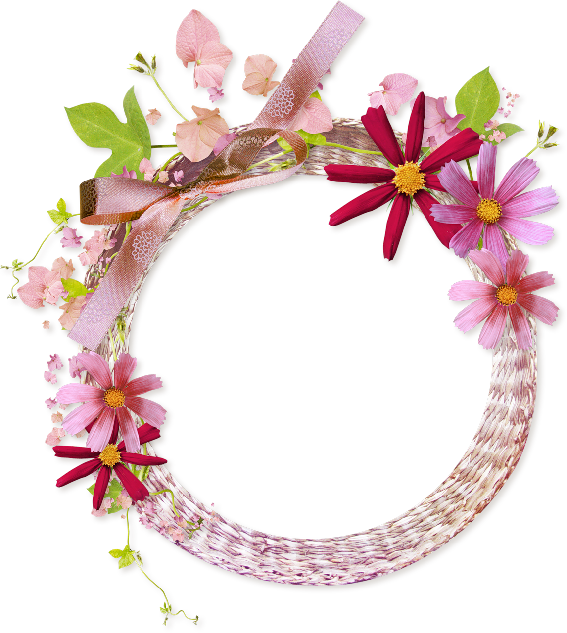 Floral Round Frame Clipart PNG Image