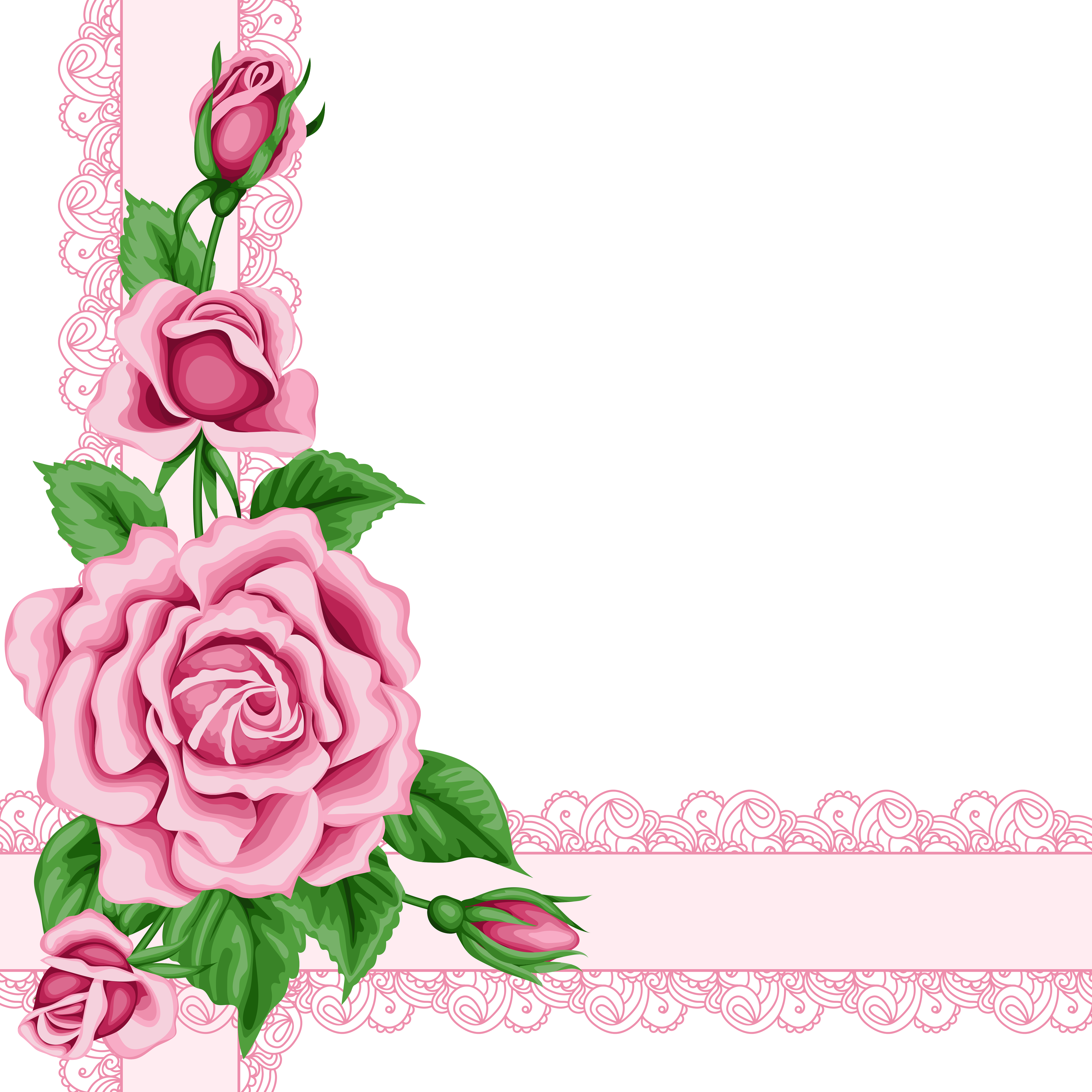 Pink Rose Flower Border Free Download PNG HQ PNG Image