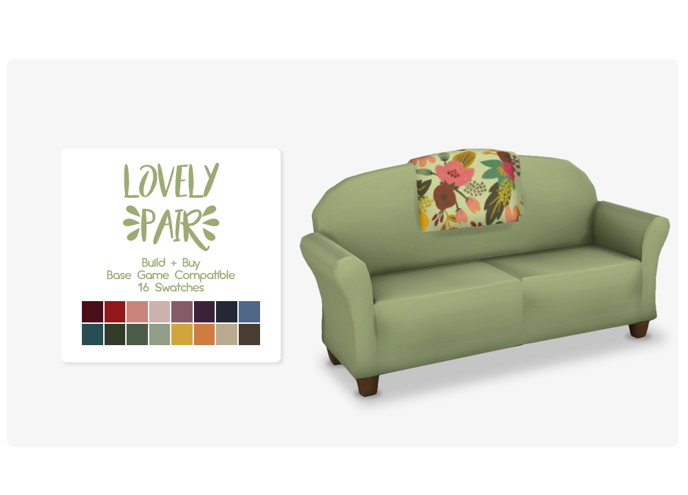 Sims Loveseat Green Furniture Free PNG HQ PNG Image