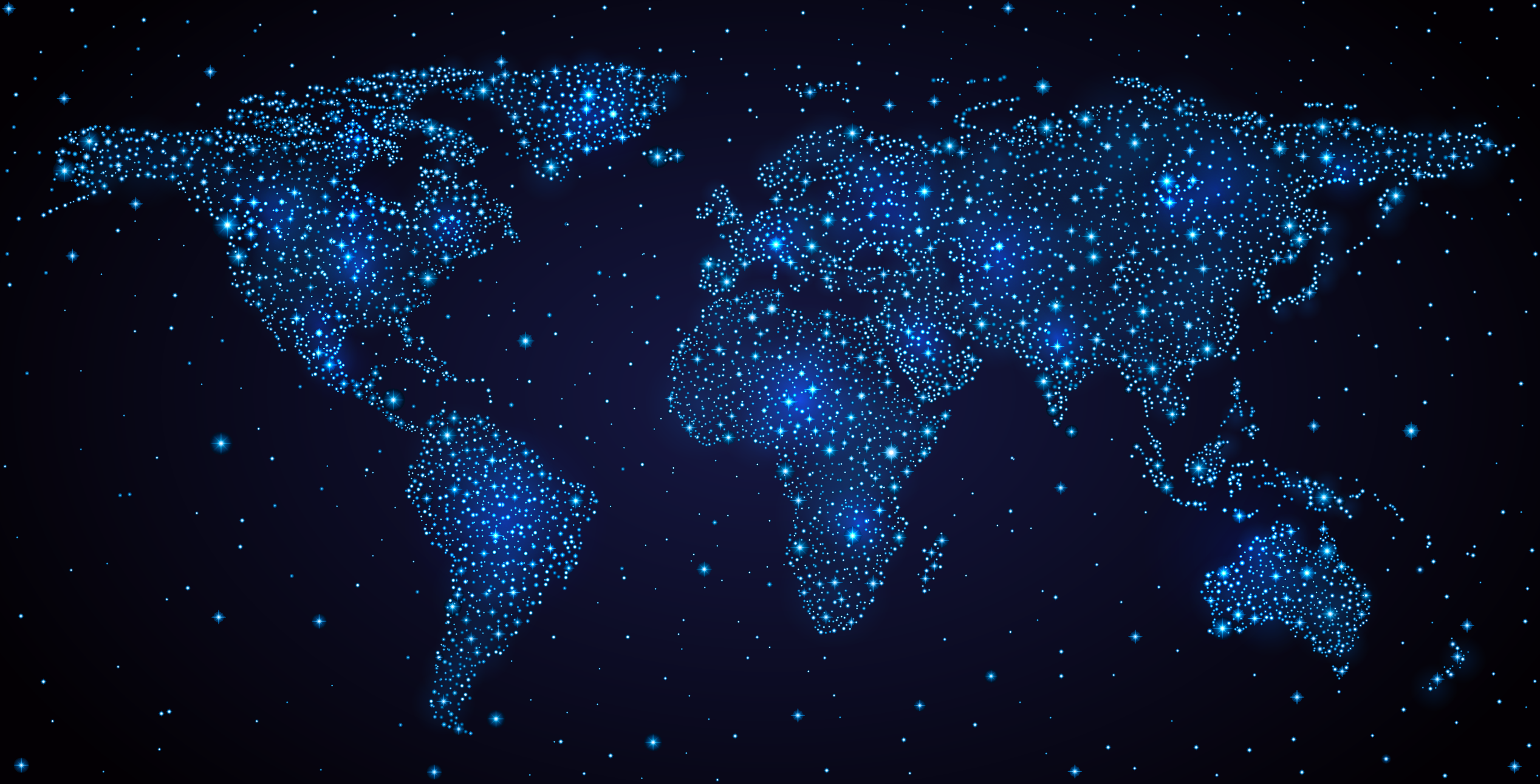 Blue Map Star Sky Night World PNG Image