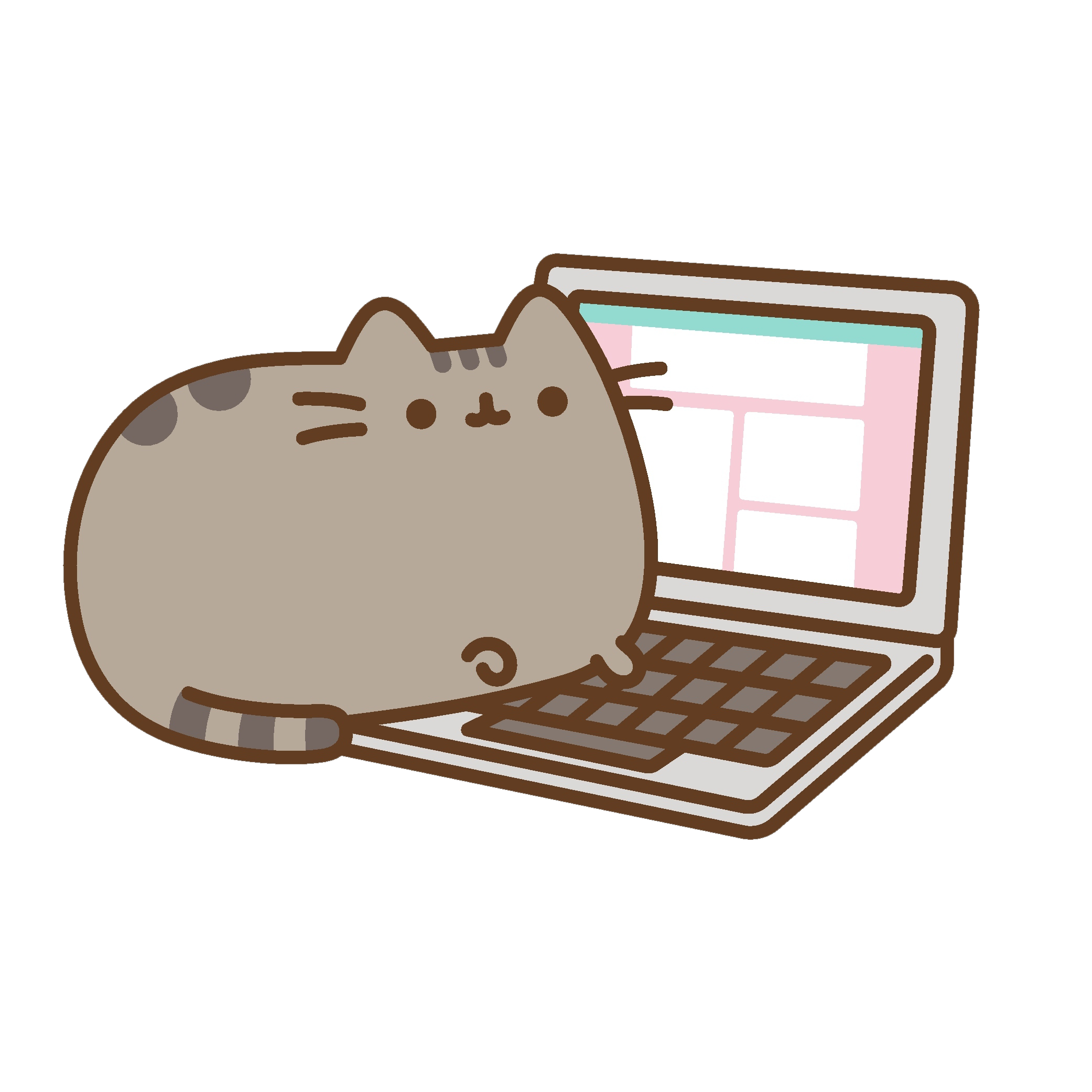 Brown Pusheen Rectangle Cat Free PNG HQ PNG Image