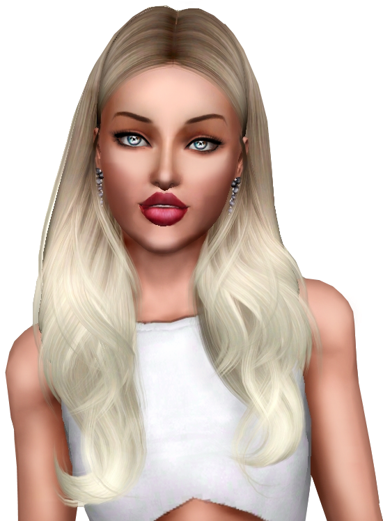 Sims Blond Color Hair Human World Miss PNG Image