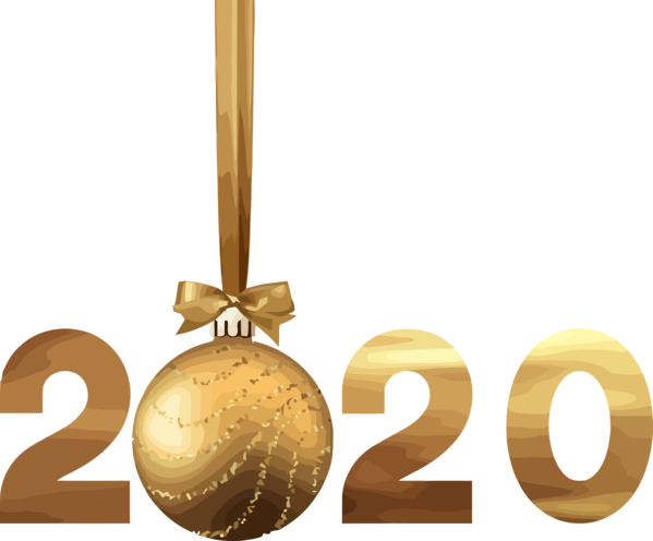 New Years 2020 Christmas Ornament Font Logo For Happy Year Celebration 2020 PNG Image