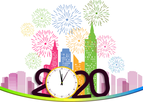 New Years 2020 Event Fireworks For Happy Year Festival PNG Image