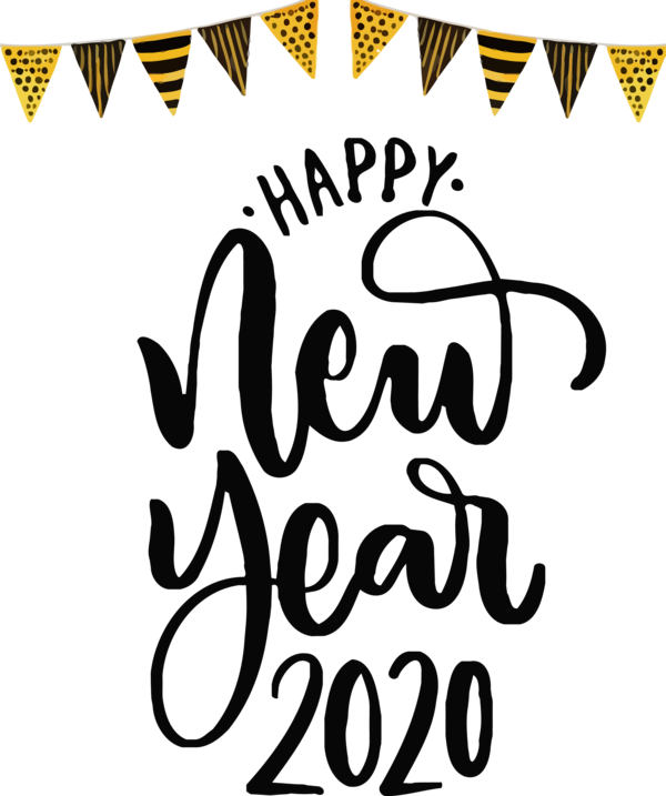 New Year Font Text Calligraphy For Happy 2020 Lights PNG Image