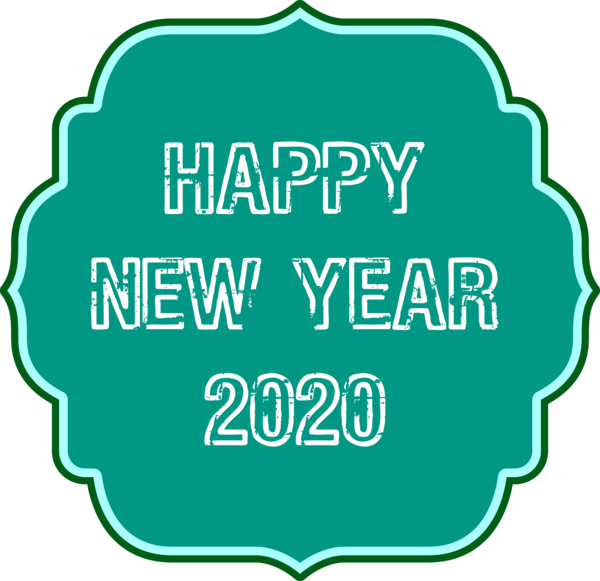 New Year Green Logo For Happy 2020 Quote PNG Image