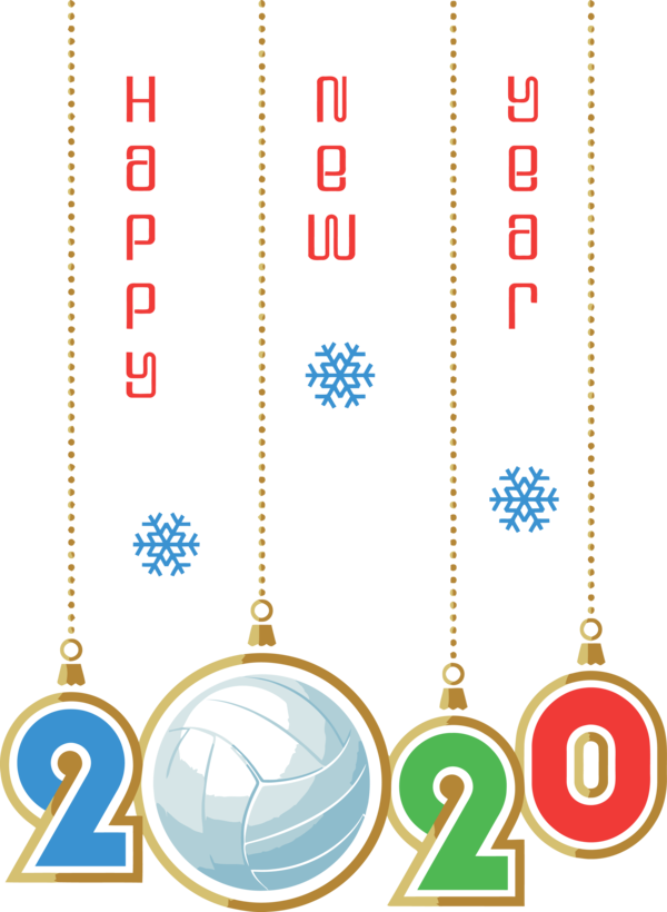 New Years 2020 Line Font For Happy Year Colors PNG Image
