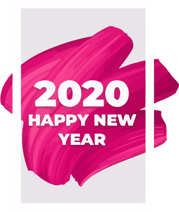 New Year Pink Text Magenta For Happy 2020 Day PNG Image