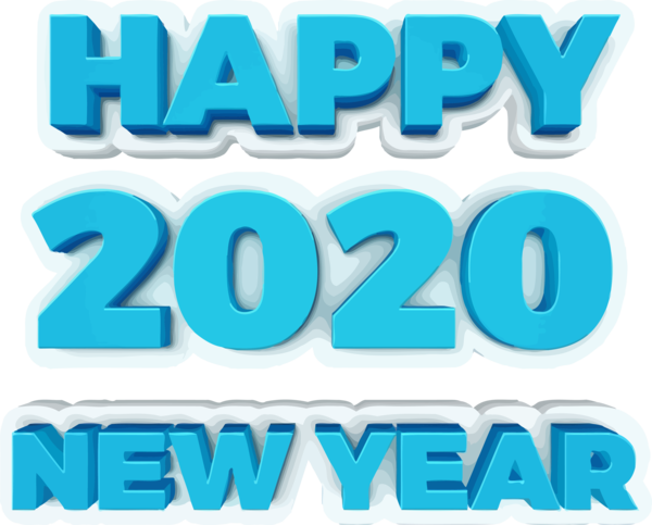 New Year Text Aqua Turquoise For Happy 2020 Activities PNG Image