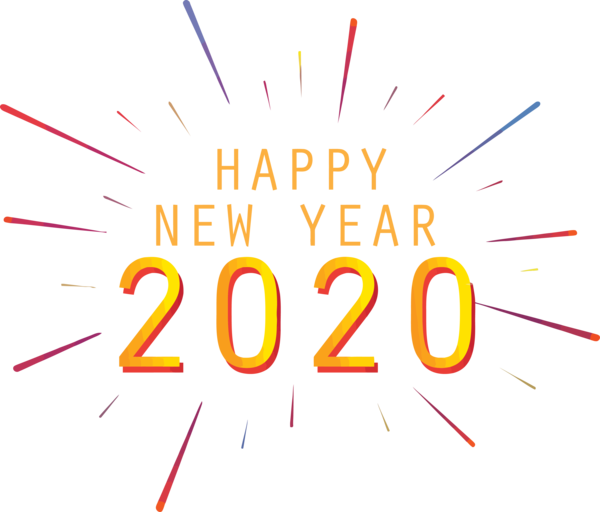 Download New Year 2020 Text Font Line For Happy Drawing Hq