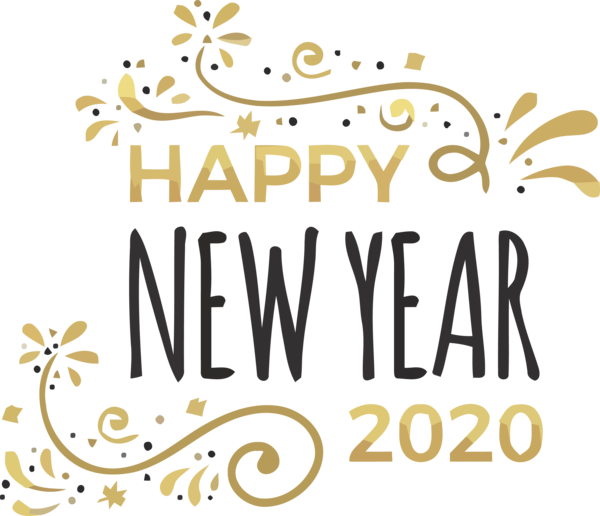New Year Text Font Line For Happy 2020 Wishes PNG Image