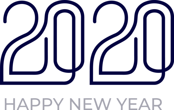 New Years 2020 Text Font Line For Happy Year Colors PNG Image