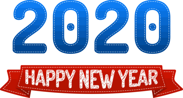 New Year 2020 Text Font Logo For Happy Poem PNG Image