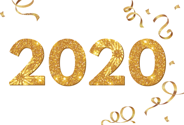 New Year 2020 Text Font Number For Happy Lights PNG Image
