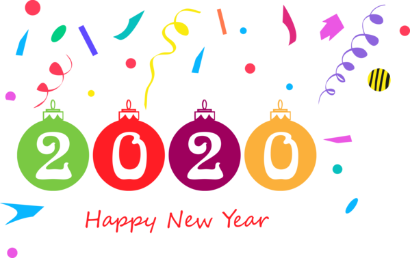 New Year Text Font Pink For Happy 2020 Greeting Cards PNG Image