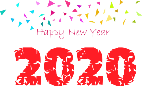 New Year Text Font Pink For Happy 2020 Goals PNG Image