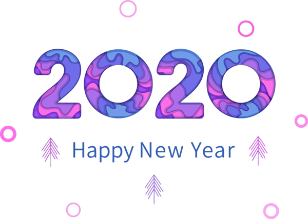 Download New Year 2020 Text Font Purple For Happy Events ...