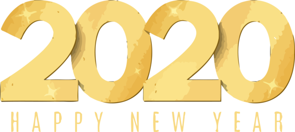 New Years 2020 Text Font Yellow For Happy Year Decoration PNG Image