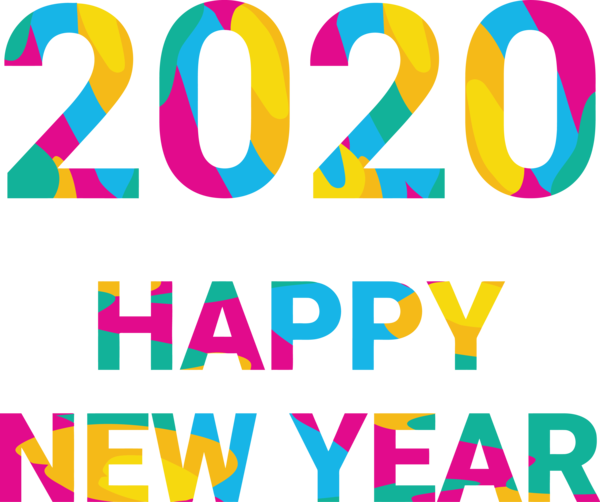 New Years 2020 Text Font Line For Happy Year Eve Party 2020 PNG Image