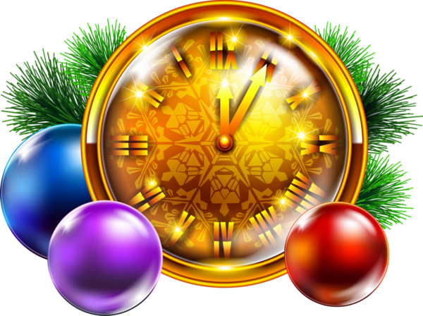 Santa Claus Christmas Clock Fir Pine Family For Goals PNG Image