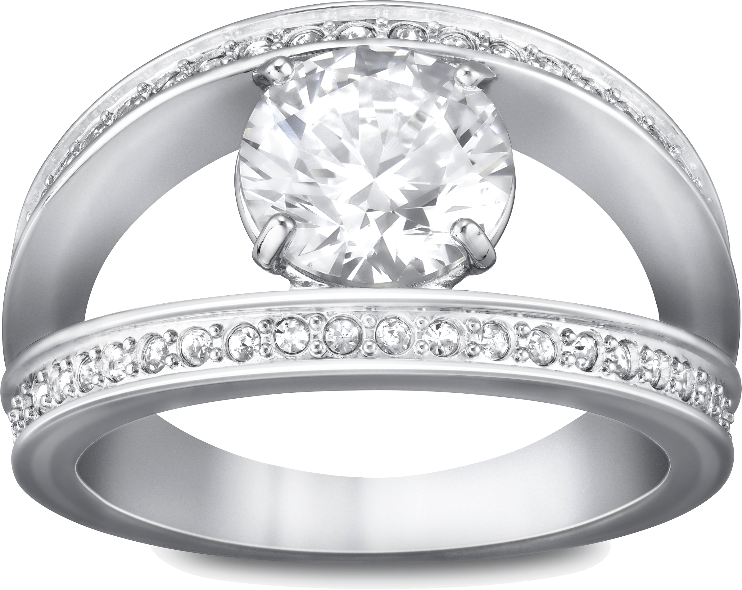 Silver Ring With Diamond Png PNG Image