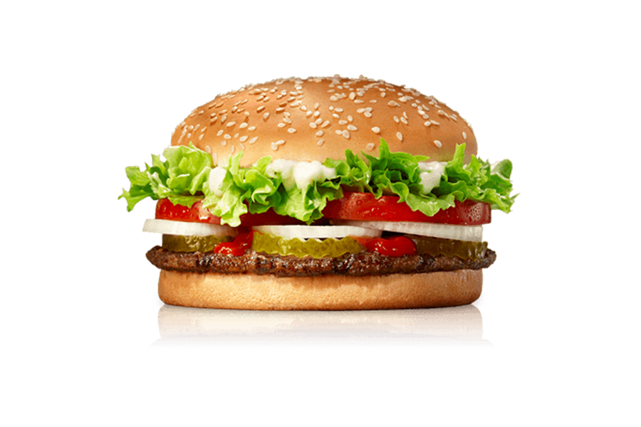 King Whopper Hamburger Food Fries Cheeseburger French PNG Image
