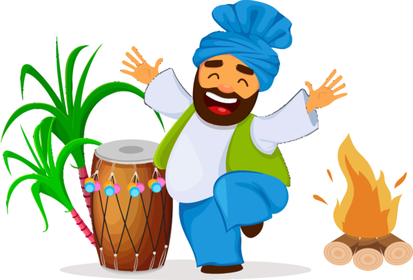 Lohri Cartoon Drum For Happy Gifts PNG Image