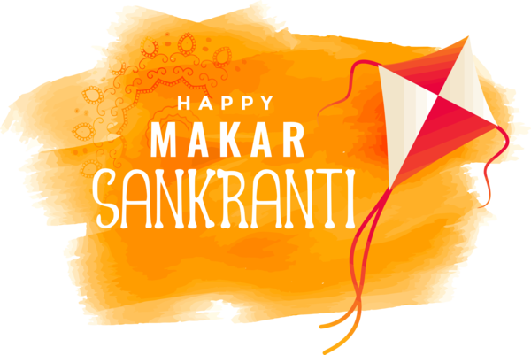 Makar Sankranti Orange Yellow Text For Happy Colors PNG Image