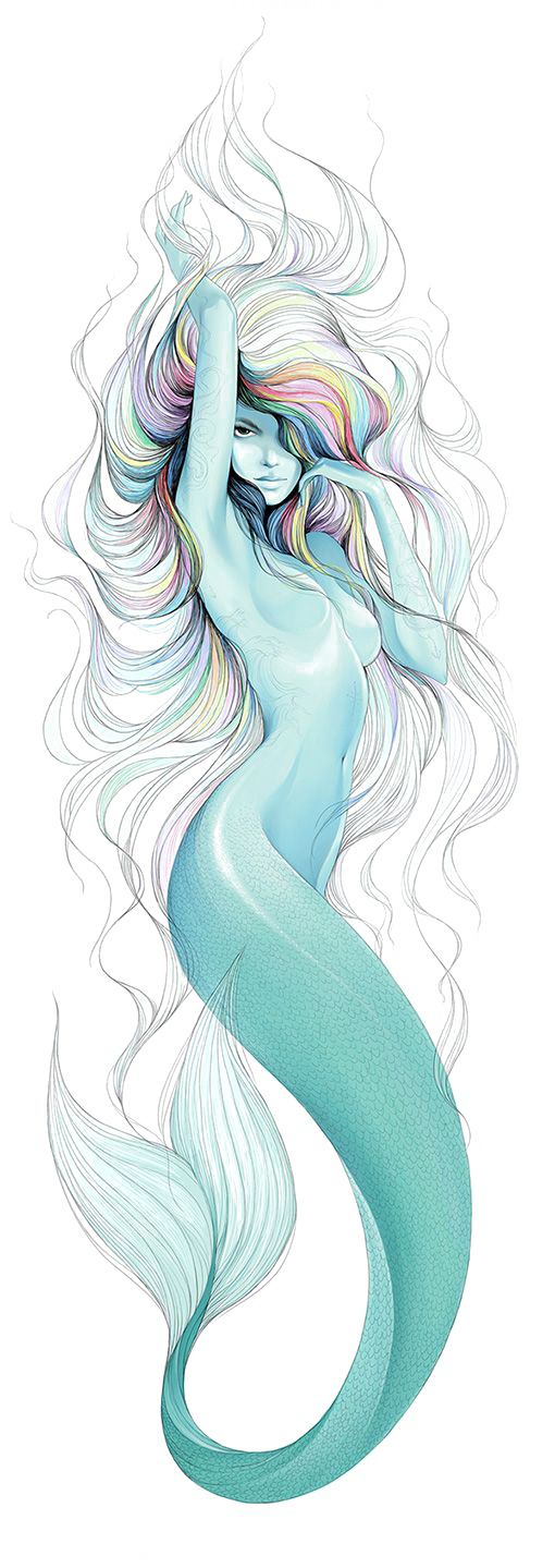 Tattoo Artist Finger Moustache Drawing Mermaid PNG Image