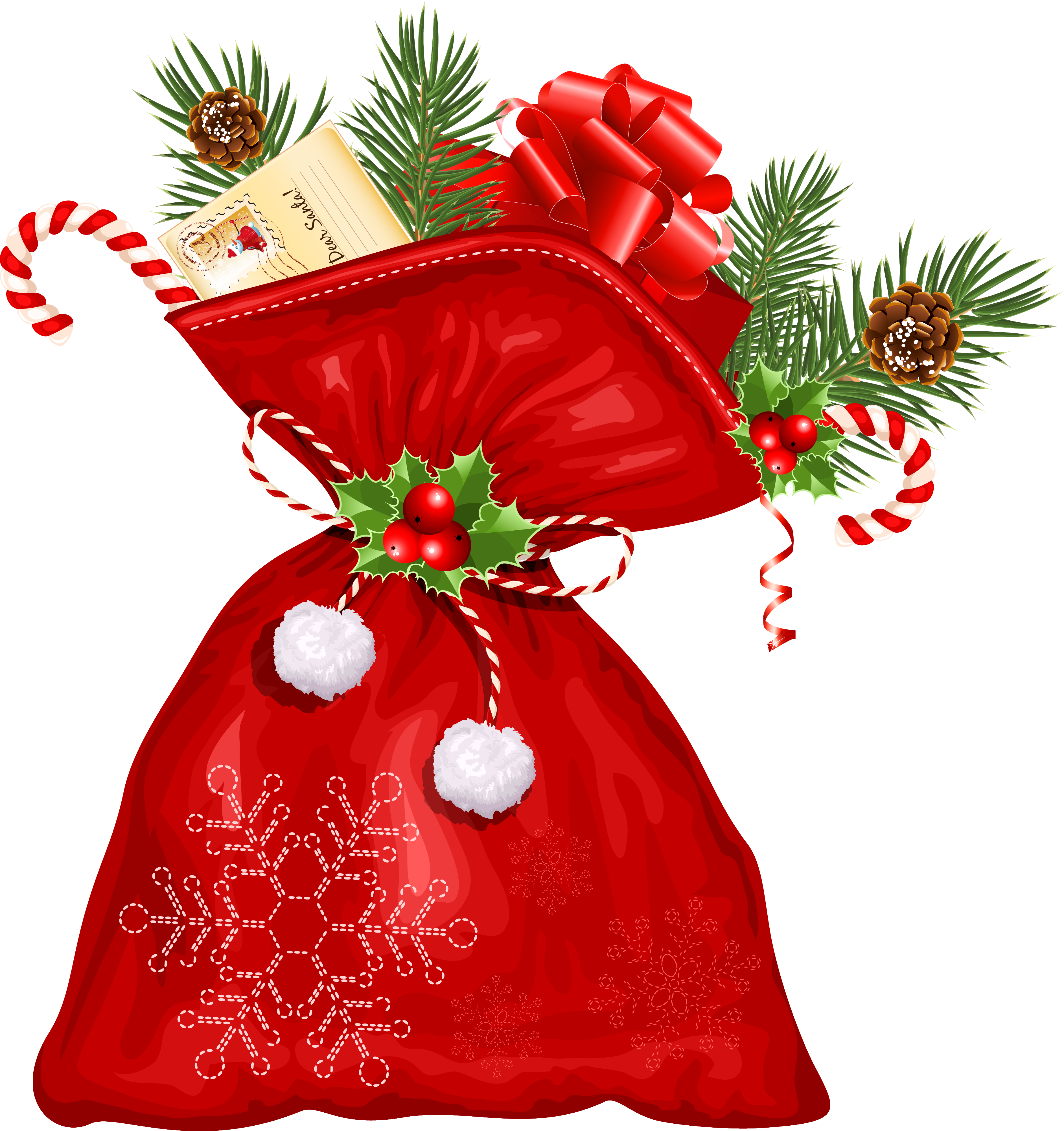 Cane Claus Candy Decoration Flower Santa Christmas PNG Image