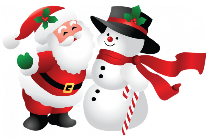 Snowman And Santa Claus PNG Image