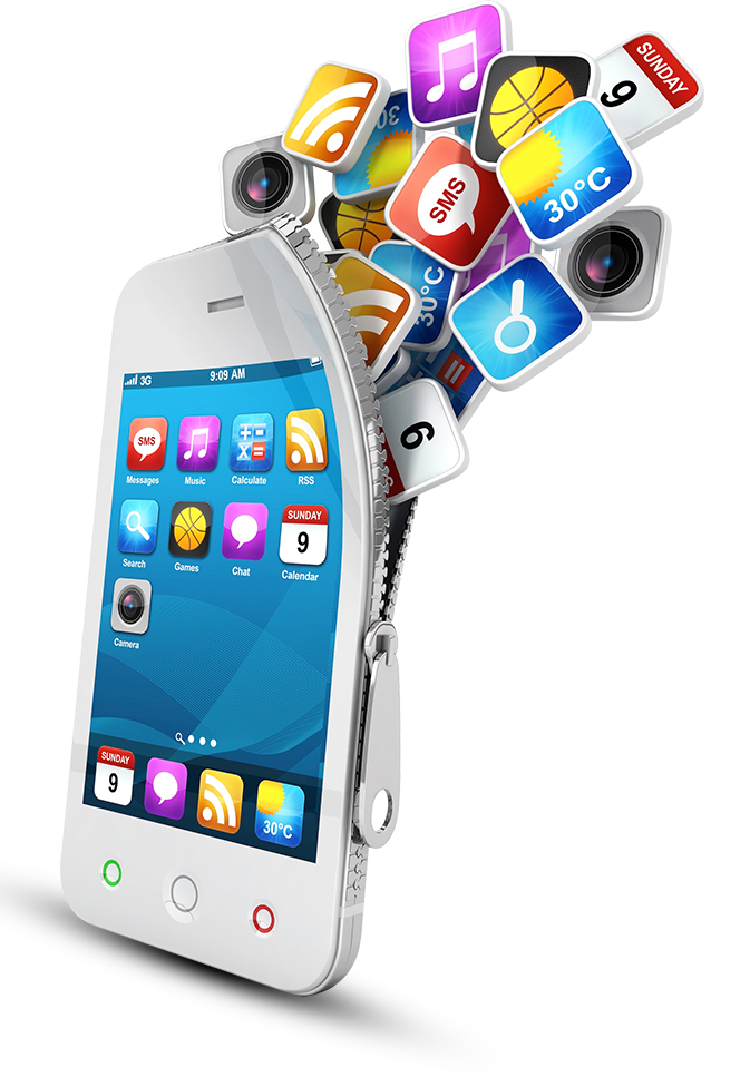 Development Mobile Media App Social Marketing Phones PNG Image