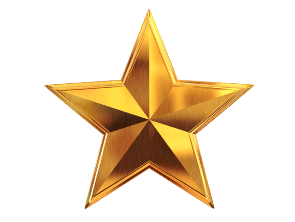 3D Gold Star File PNG Image