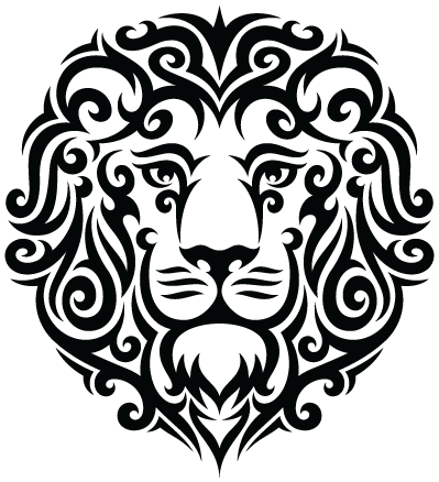 Tribal Leo Lion Tattoo PNG Image