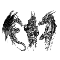 3D Dragon Tattoo Design PNG Image