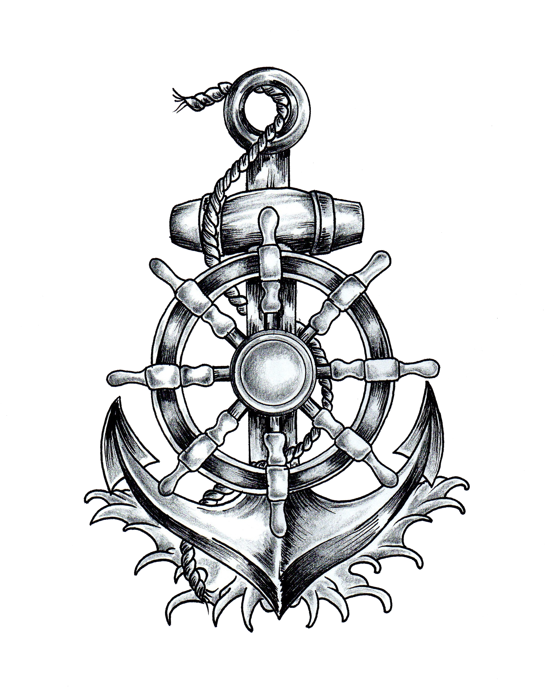Wheel Tattoo Ship'S Anchor T-Shirt Drawing PNG Image