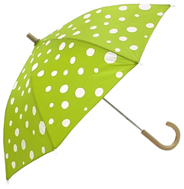 White Dotted Green Umbrella PNG Image