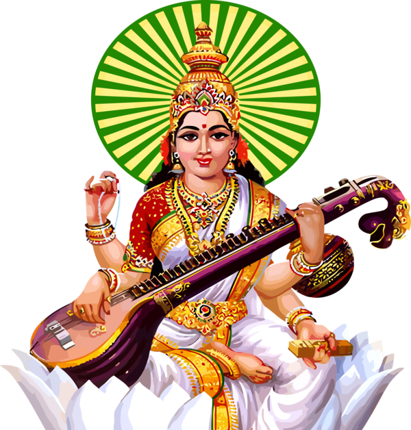 Vasant Panchami String Instrument Musical Veena For Happy Events Near Me PNG Image